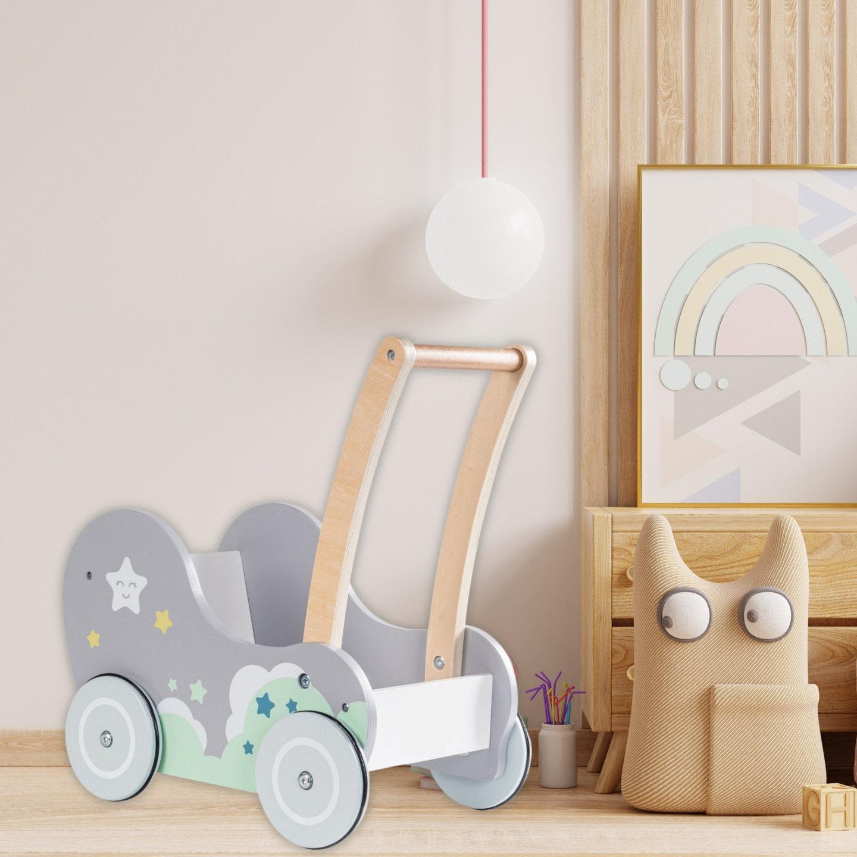 Dobranocka - drewniany wózek chodzik pchacz