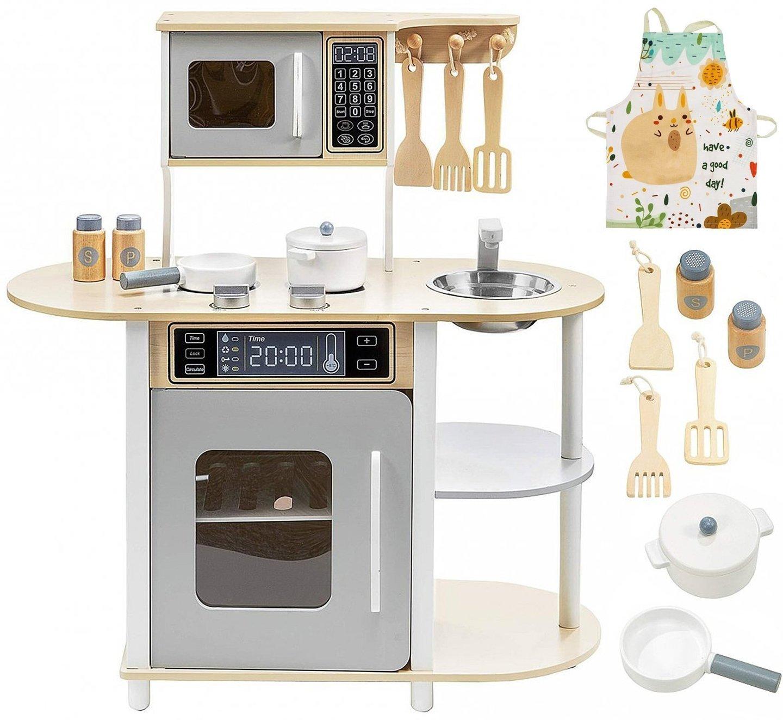 Drewniana kuchnia z piekarnikiem, mikrofalą, fartuszkiem i akcesoriami