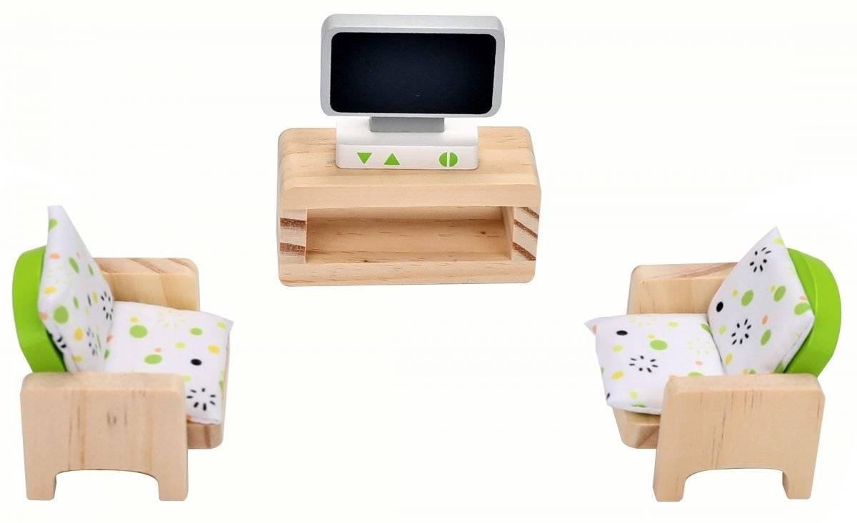 Drewniany domek dla lalek z meblami + 3 lalki gratis!