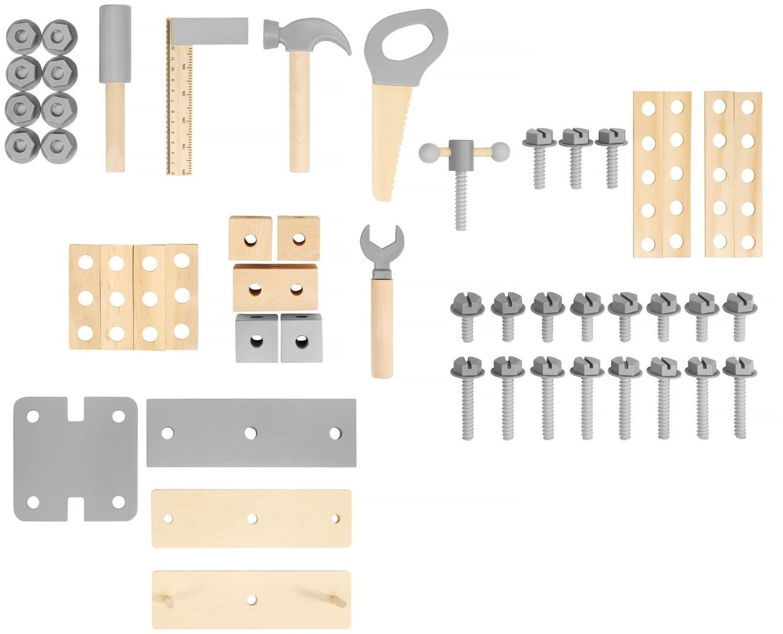 Drewniany warsztat XXL dla dzieci z narzędziami, pasem i kredową tablicą - 48 el.