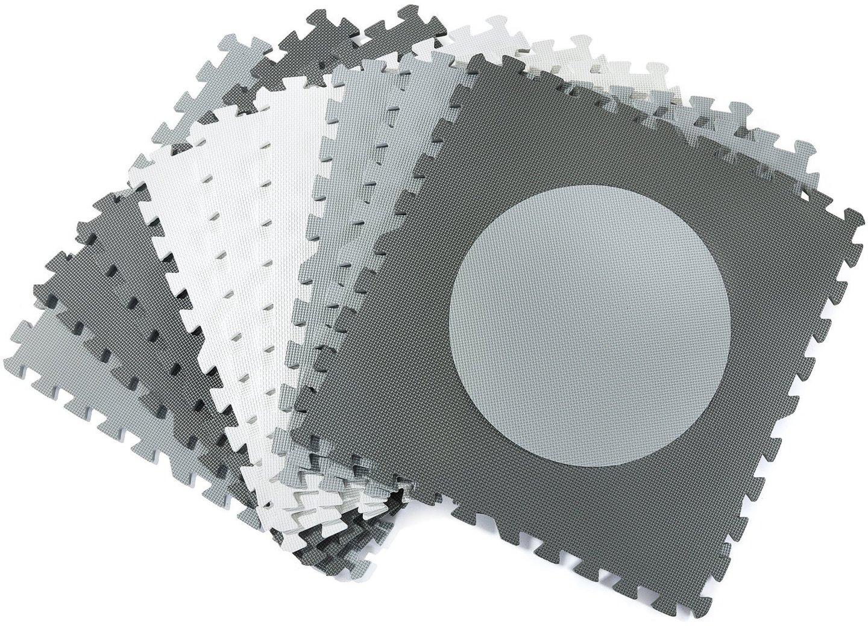 Mata piankowe puzzle XXL 190 x 190 x 1cm z obrzeżem - pianka EVA - odcienie szarości