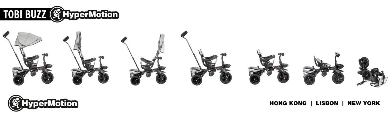Rowerek trójkołowy HyperMotion TOBI BUZZ - obracany, składany. Kolor: czarny-szary.