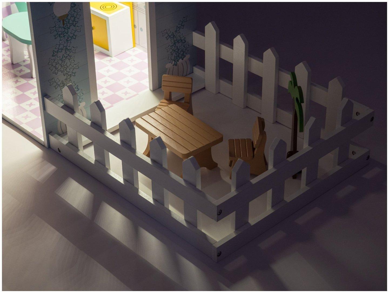XXL Największy drewniany domek dla lalek - 123 cm - podświetlany LED - taras, akcesoria, ogródek